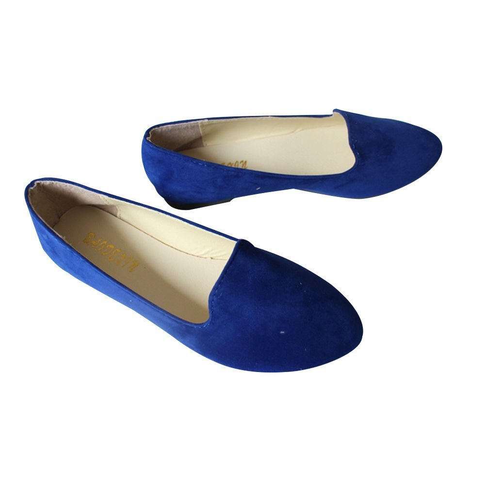 JOY DRAGON Women Ballet Light Faux Suede Low Heels Flats Candy Color Spring Summer Loafers Shoes Size 5-8 B07BHJ9GMV 5 B(M) US|Blue
