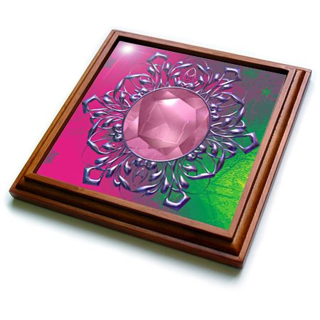 3dRose Pretty Lace Accented Frame with Jewel and Gradient Background Trivet with Ceramic Tile, 8 by 8