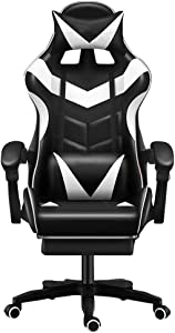 Gaming/Racing Style Adjustable Office Chair with Removable Headrest,High Back Cushion,Lumbar Cushion, and Footrest,360-Degree Swivel (White)