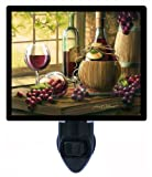 Night Light - Chianti by the Window - Wine Bottles and Grapes - LED NIGHT LIGHT