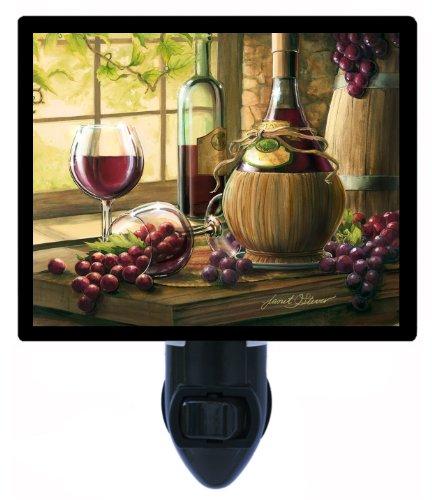 Night Light - Chianti by the Window - Wine Bottles and Grapes - LED NIGHT LIGHT by Night Light Designs (Image #4)