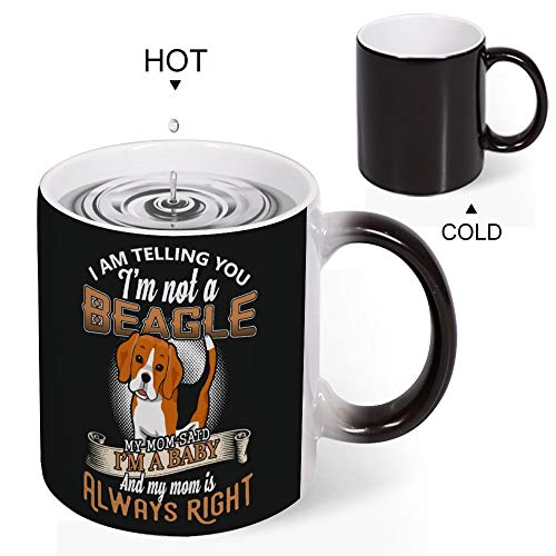 Welkoom Color Changing Coffee Mug Cup, Personalized Im Not A Beagle My Mom Said Im A Baby Diy Print Coffee Mug That Changes With Heat Birthday Christmas Gift