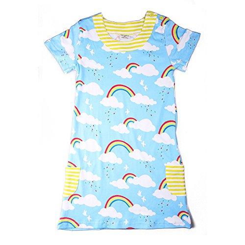 PRETCFTB Girl 1 Piece Short Sleeve Nightgowns Dress 100% Cotton Rainbow Watermelon Bird Rabbit Size 18Mos-6T