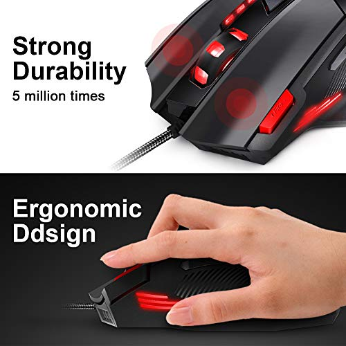 7947f4740c4 Amazon.com: Gaming Mouse Wired Programmable 7 Buttons - Hcman [Upgraded  Version] Led Backlit & 5 DPI Mode,Comfortable Grip with Fire Button,USB PC  Gaming ...