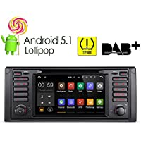 "XTRONS 7"" Android 5.1 Lollipop Quad Core HD Touch Screen Car Stereo Radio DVD Player with GPS Navigator Bluetooth Screen Mirroring Function OBD2 Tire Pressure Monitoring for BMW E39 5 Series M5"