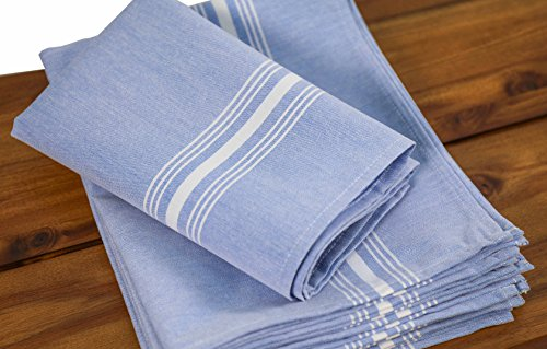 Milliken Signature Stripe Polyester Chambray Blue Napkins (Set of 6) 18