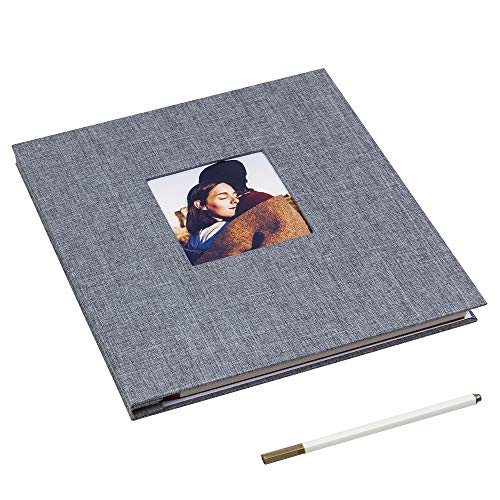 (Self Adhesive Photo Album Magnetic Scrapbook Album 40 Magnetic Double Sided Pages Linen Hardcover DIY Photo Album Length 11 x Width 10.6 (Inches) with A Metallic Marker Pen (Gray))