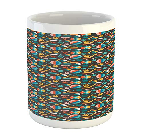 Ambesonne Dogs Mug, Pattern with Puppy Food Paw Traces Bowls and Toys Veterinary Pet Lover Themed Print, Printed Ceramic Coffee Mug Water Tea Drinks Cup, Multicolor