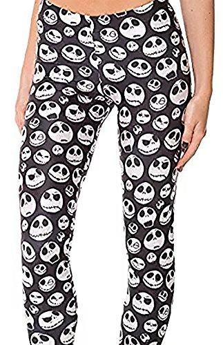 Christal Town Women's Soft Halloween Skulls Regular and Plus Leggings Pants G-Skulls One Size (Size 0-12