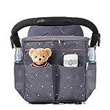 Stroller Organizer Travel Bag with Shoulder Strap Insulated Bottle Holder Lightweight Design Storage Pockets for Bottles, Diapers, Toys, Snacks, Saliva Towel-Fits All Baby Stroller Models.