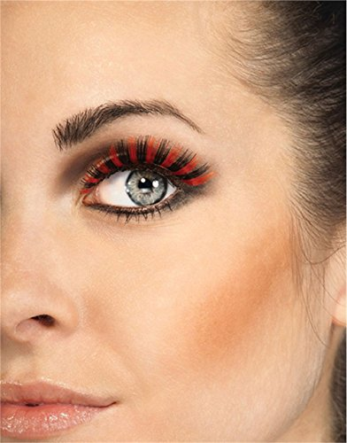 Rubies Black and Orange Eyelashes and (Witch Wig Stripes)