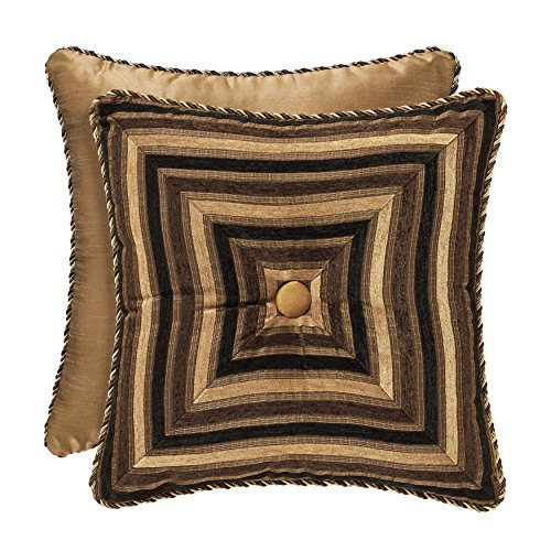 Five Queens Court Reilly Woven Chenille Stripe Euro Square Decorative Pillow Throw Pillow, Black/Gold