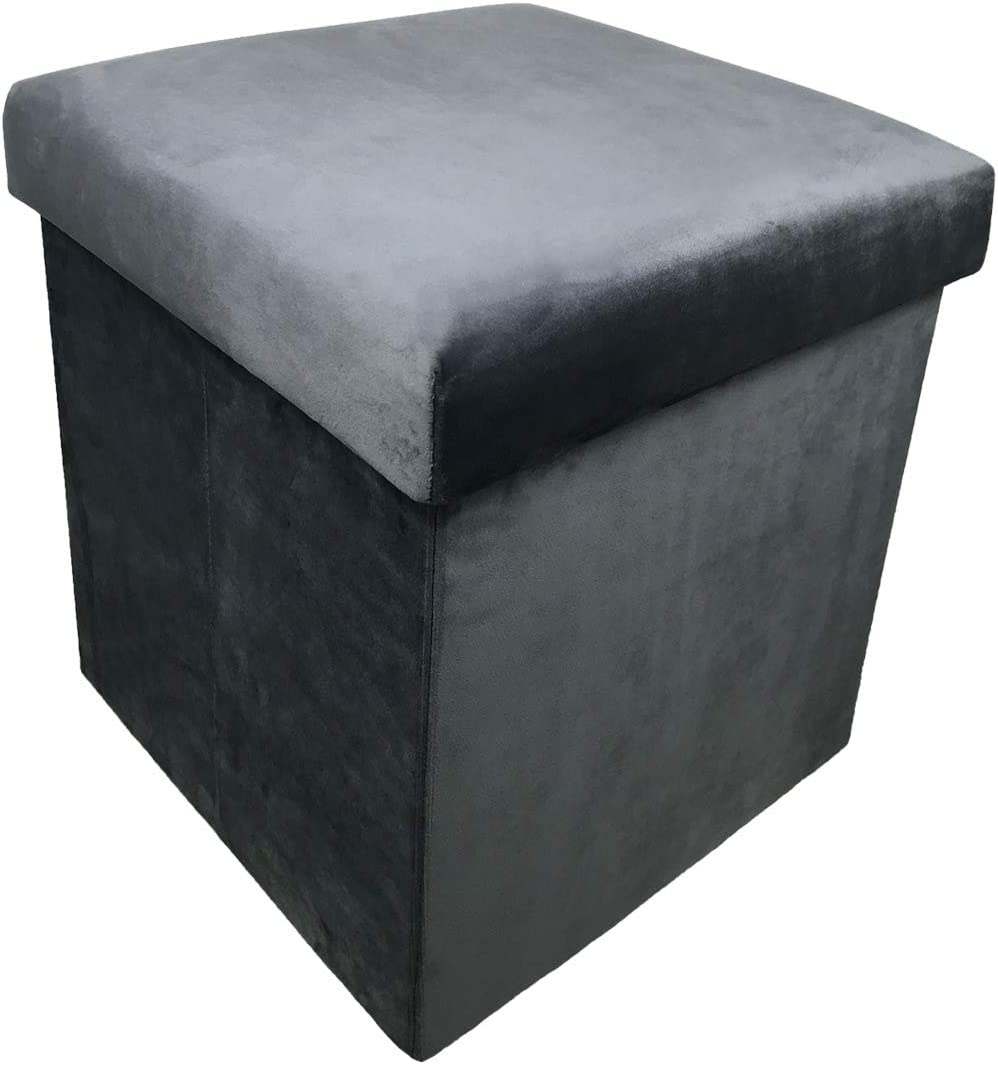 YIFONTIN Storage Ottoman Cube Foldable Foot Stool Basket Collapsible Bench Seat Footstool with Lid 15X15X15 inches for Entryway Bedside Reading Room, Velvet Grey.