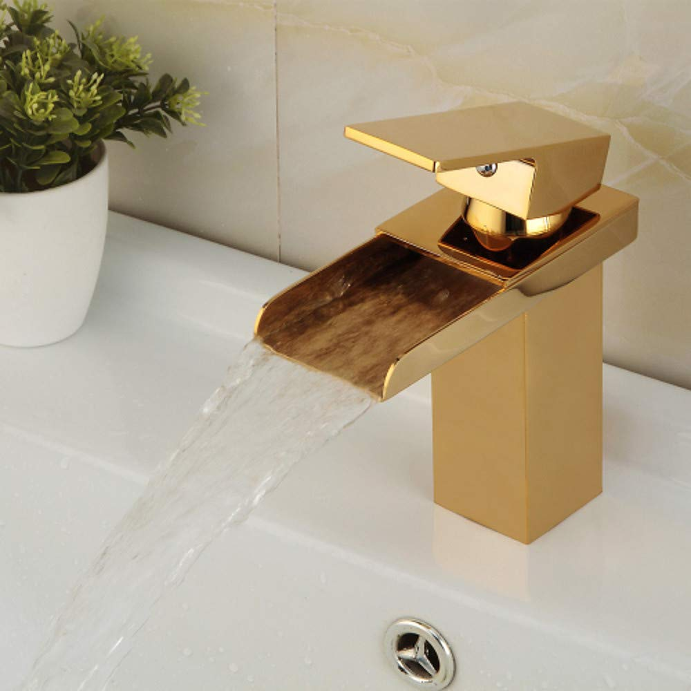 1 Tintin Contemporary Centerset Waterfall Ceramic Valve One Hole Single Handle One Hole TiPVD, Bathroom Sink Faucet,1