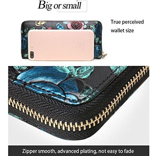 DEI QI Brieftasche Leder Multifunktions Kupplung Korean Trend Zipper Tasche Persönlichkeit Lange Brieftasche Damen Brieftasche Persönlichkeit Mode Handbemalte Geld Paket Der Chinesischen Nationalen Wi Silber