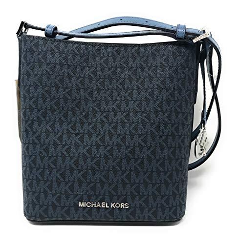 Michael Kors Kimberly Signature PVC Small Bucket Crossbody Bag in Admirl/Denim