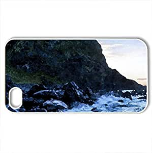 ancient castle ruins on rugged sea coast - Case Cover for iPhone 4 and 4s (Beaches Series, Watercolor style, White)