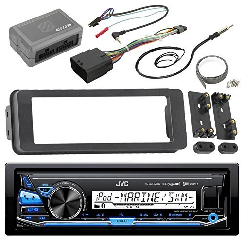 Scosche Multi Kit (JVC KDX33MBS Marine Radio Stereo Receiver For 1998 2013 Harley Davidson Touring Flht Flhx Flhtc Bundle With Scosche Adapter Dash Kit With Handle Bar Control Module + Enrock Wire)