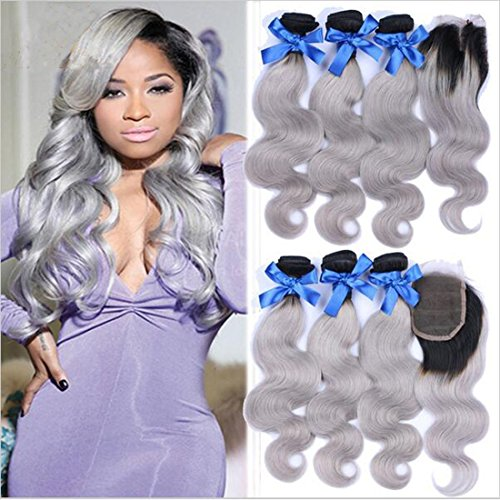 Ombre-Hair-Weave-Body-Wave-Weft-1BGrey-7A-Brazilian-Virgin-Hair-3-Bundles-With-1-Lace-Top-Closure-Silver-Hair-Extensions