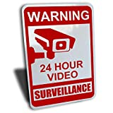 "Warning 24 hour video surveillance sign, aluminum, red, 7"" by 10"""