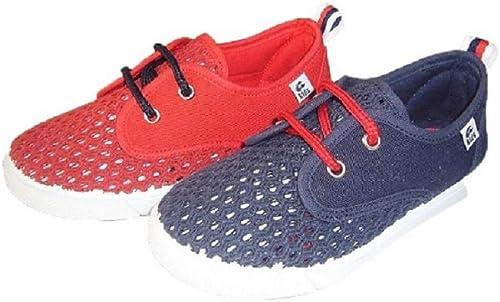 ANI Zapatillas de Lona para niño Color Marino con Cordones Rojos ...