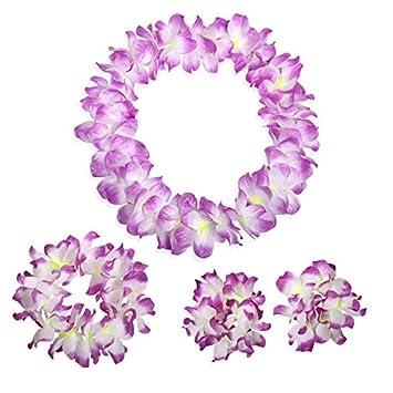 Amazon purple white tropical hawaiian luau silk flower leis purple white tropical hawaiian luau silk flower leis garland necklace bracelets headband set birthday party mightylinksfo Images