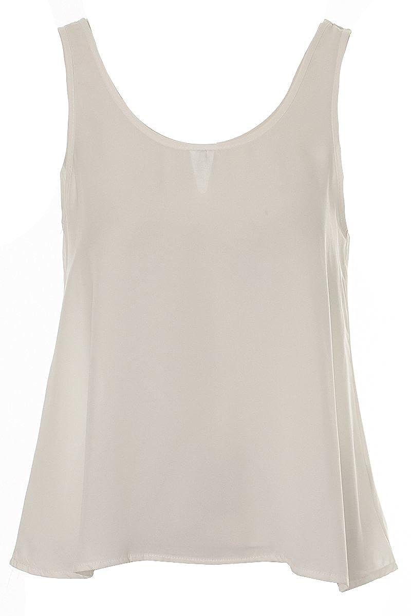 0ce269c0055d6 Ladies Chiffon Vest Top Womens Strappy top Blouse black cream Khaki mustard  8 10 12 14 (8