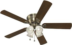 Harbor Breeze Centreville 52-in Antique Brass Indoor Flush Mount Ceiling Fan with Light Kit