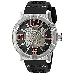 Elini Barokas Men's 'Spirit' Automatic Stainless Steel and Silicone Casual Watch, Color:Black (Model: 20025-01)
