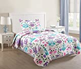 quilt set girls - MarCielo 2 Piece Kids Bedspread Quilts Set Throw Blanket for Teens Boys Girls Bed Printed Bedding Coverlet, Twin Size, Purple Hoot (Twin)