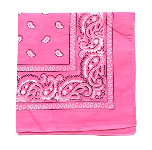 Dozen Bandanas - ComboCube 12 Pack(one dozen) Multi-Purpose novelty Pink Cotton Paisley Cowboy Bandanas Headband for Men,Women and kids