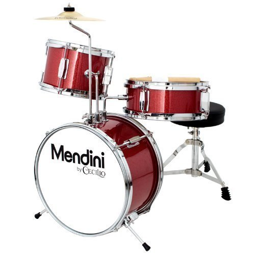 Mendini 3 Drum Set, Metallic Red, 13-inch (MJDS-1-BR)