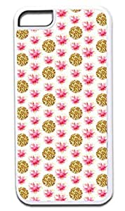 MEIMEIGold Glitter PRINT Polka Dots and Watercolor Flowers Pattern- Case for the APPLE iphone 6 4.7 inch ONLY!!! -Hard White Plastic Outer Case with Tough Black Rubber LiningMEIMEI