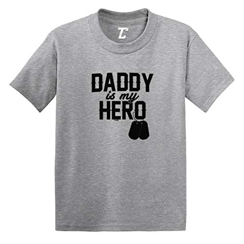 (Daddy is My Hero - Military Dog Tags Infant/Toddler Cotton Jersey T-Shirt (Light Gray, 18 Months))