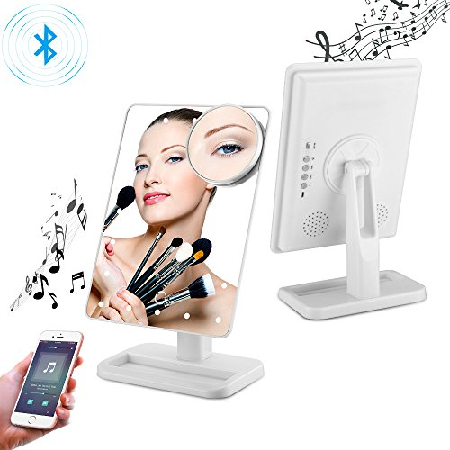 Bluetooth Vanity Mirror- USB Chargeable with LED lights by Addprime, Wireless Audio Speakers, 180 Rotation, Removable 10x Magnifier, Build-in Led Light Makeup Mirror (White)