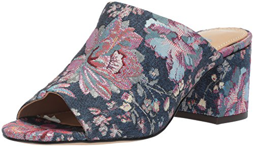 The Fix Women's Belle Block Heel Mule, Floral Pastel Denim Jacquard Textile, 9.5 B US (Heel Denim Mule)