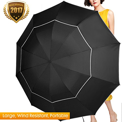 Fit-in Bag Golf Umbrella Compact & Lightweight, 60 Inch Rain/Wind Resistant Double Canopy Vented Golf-sized Large Travel Umbrella with Small Folding Length 11.8inch (Nylon Golf Umbrella)