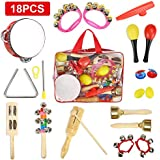 CrzKo Toddler Musical Instruments, 18 in 1 Kids Toy Mini Band Wooden Percussion, Pre-School Educational Play Set, Percussion Set for Boys and Girls Birthday Gifts with Zippered Carrying Bag