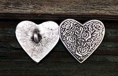 2 Rose Heart Pewter Shank Buttons 1 Inch (25 mm)