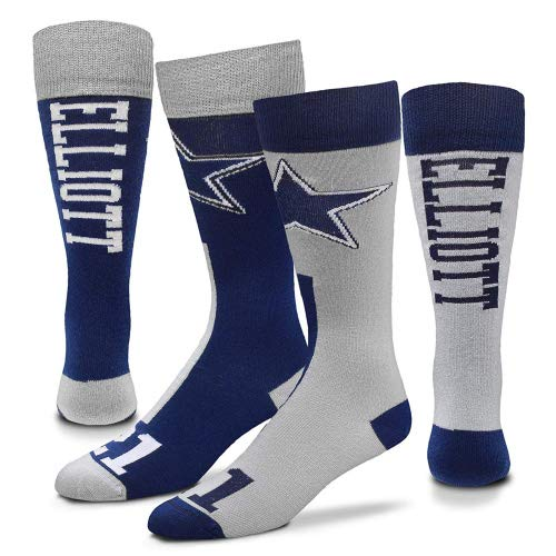For Bare Feet Dallas Cowboys Big Top Mismatch Men's Crew Socks - Ezekiel Elliott #21 (Large (10-13)) ()