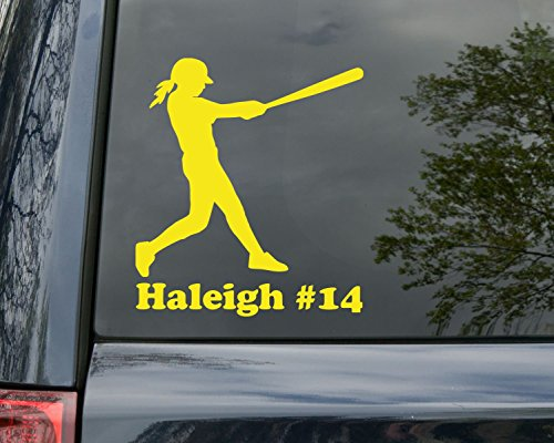 (Minglewood Trading Softball Player Vinyl Decal Sticker with Custom Personalized Name 6