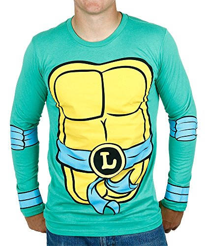Teenage Mutant Ninja Turtles Leonardo Costume Longsleeve Adult T-Shirt (Small) (Ninja Turtles Costume For Women)