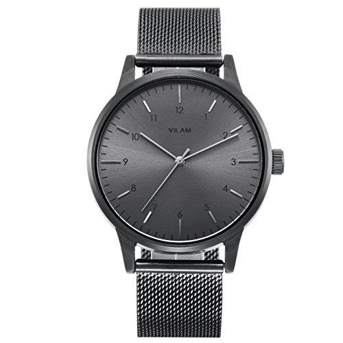 Vilam Men's Fashion Minimalist Wrist Watches Analog Deep Gray with Black Milanese Mesh Band