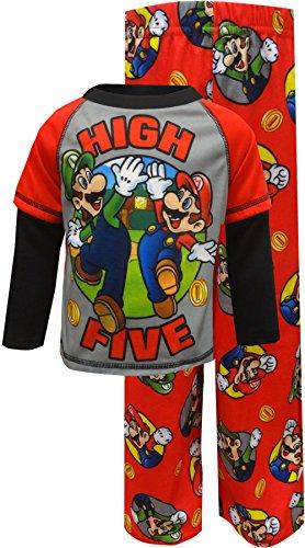 Super Mario Brothers Big Boys' Nintendo 2-Piece Pajama Set, High Five Red, 8