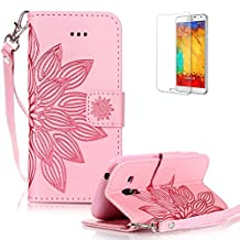 For Samsung Galaxy S3 Mini Case [with Free Screen Protector] Funyye Solid color Stylish Lanyard Strap Scratch Resistant Premium Magnetic Detachable PU Leather Wallet Style Cover with [Credit Card Holder Slots] Full Body protection Ultra Thin Protective Case Cover Skin for Samsung Galaxy S3 Mini - Half Flower Pink