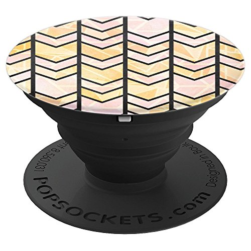 CHEVRON HERRINGBONE phone PINK GOLD BLACK - PopSockets Grip and Stand for Phones and Tablets
