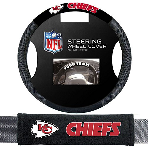 Fremont Die Kansas City Chiefs NFL Steering Wheel Cover and Seatbelt Pad Auto Deluxe Kit by Fremont Die