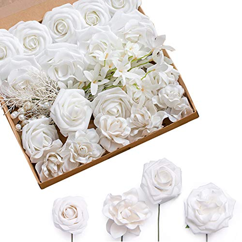 Ling's moment Artificial Flowers Combo Realistic Fake Roses with Stem for DIY Wedding Bouquets Centerpieces Floral Arrangements Decorations (Pearly ()