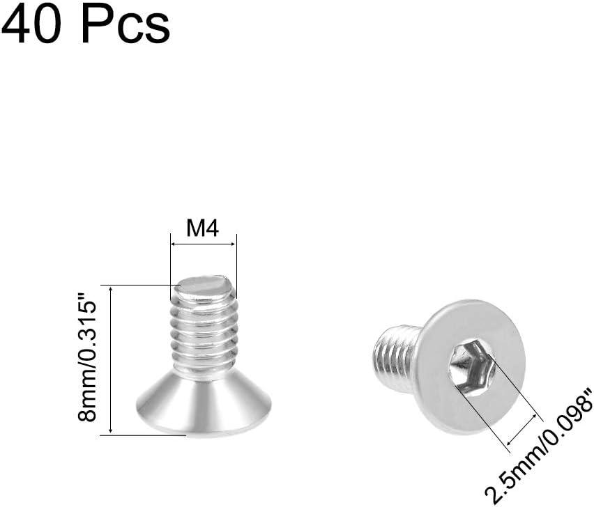 uxcell M4x8mm Flat Head Machine Screws Inner Hex Screw 304 Stainless Steel Fasteners Bolts 80Pcs