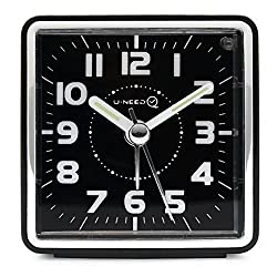 U-needQ Mini Travel Analog Alarm Clock, Non-Ticking- Battery Operated, Quartz Clock with 5 min Snooze- Loud Ascending Sound- Alarm Clocks with Night Light for Traveling, Backpacking(Black-Square Dial)
